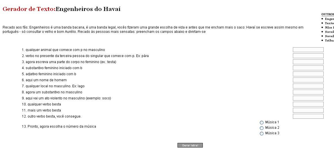 Crie Suas Próprias Músicas Dos Engenheiros Do Hawaii Sequela Coletiva
