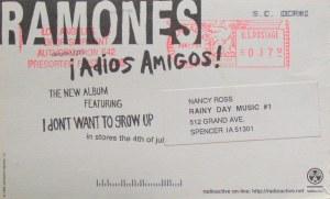 Ramones postcard back