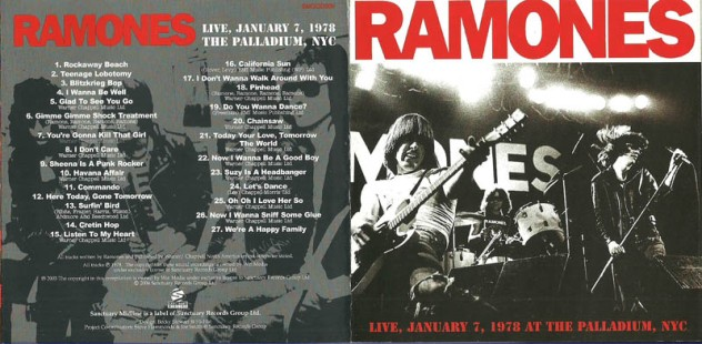 ramones-live, january 7, 1978 the palladium, nyc 1
